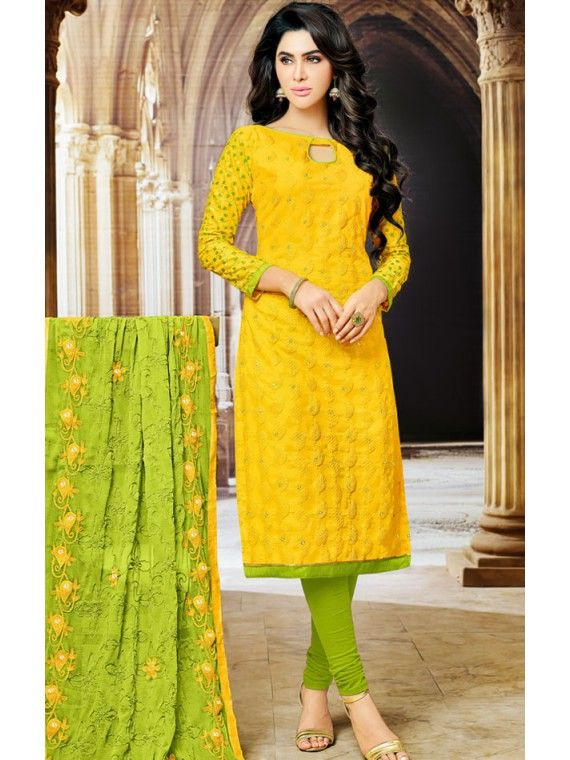 723633ded7 Peerless Lime Rust Yellow and Parrot Green salwaar suit | Stunning ...