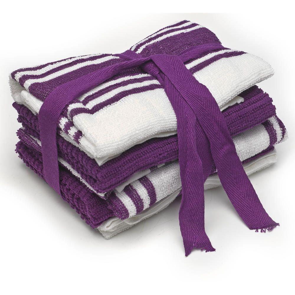 Lavender Kitchen Accessories: Tea Towels Purple White 5pk - Wilkos - £4.00