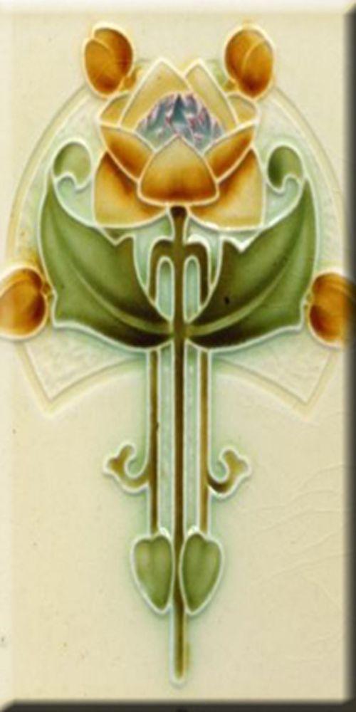 Art Nouveau Reproduction 3 X 6 Inches Ceramic Wall Tile #000025