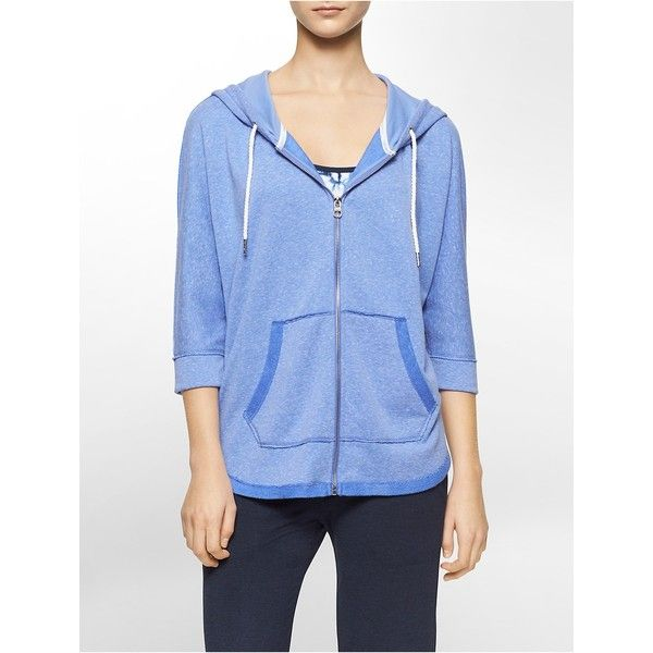 Calvin Klein Women's Performance Zip up 3/4 Sleeve Hoodie ($69) ❤ liked on Polyvore featuring activewear, activewear tops, light blue, calvin klein sportswear, calvin klein activewear and calvin klein