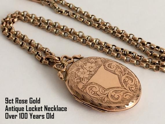 Antique 9ct Rose Gold Locket Necklace
