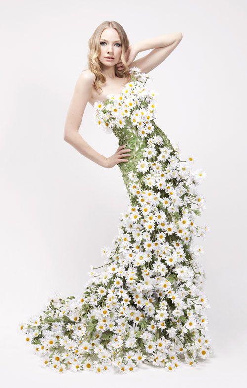 Stunning floral dresses for Yardley London advertising campaign created by Petra Storrs