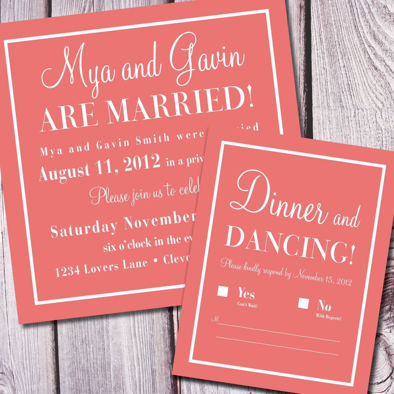Invitation For Reception After The Wedding: Check Yes Or No Wedding Announcement/Reception Invite