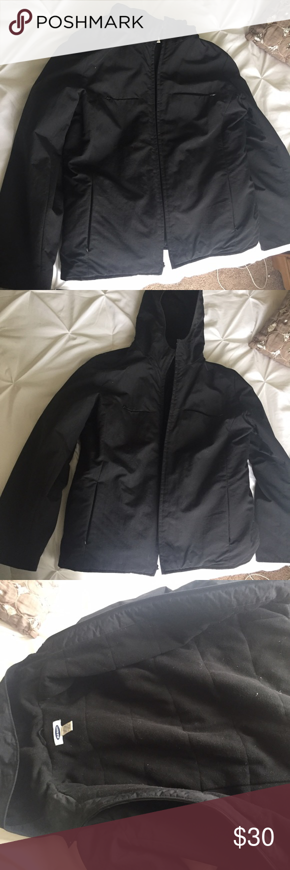 Black Cold weather Jacket Old navy- large cold wind breaker- weather jacket. Water resistant she'll- fleece inside. Super warm and comfortable! Used for snow and rain and wind winter weather. Used good condition Old Navy Jackets & Coats