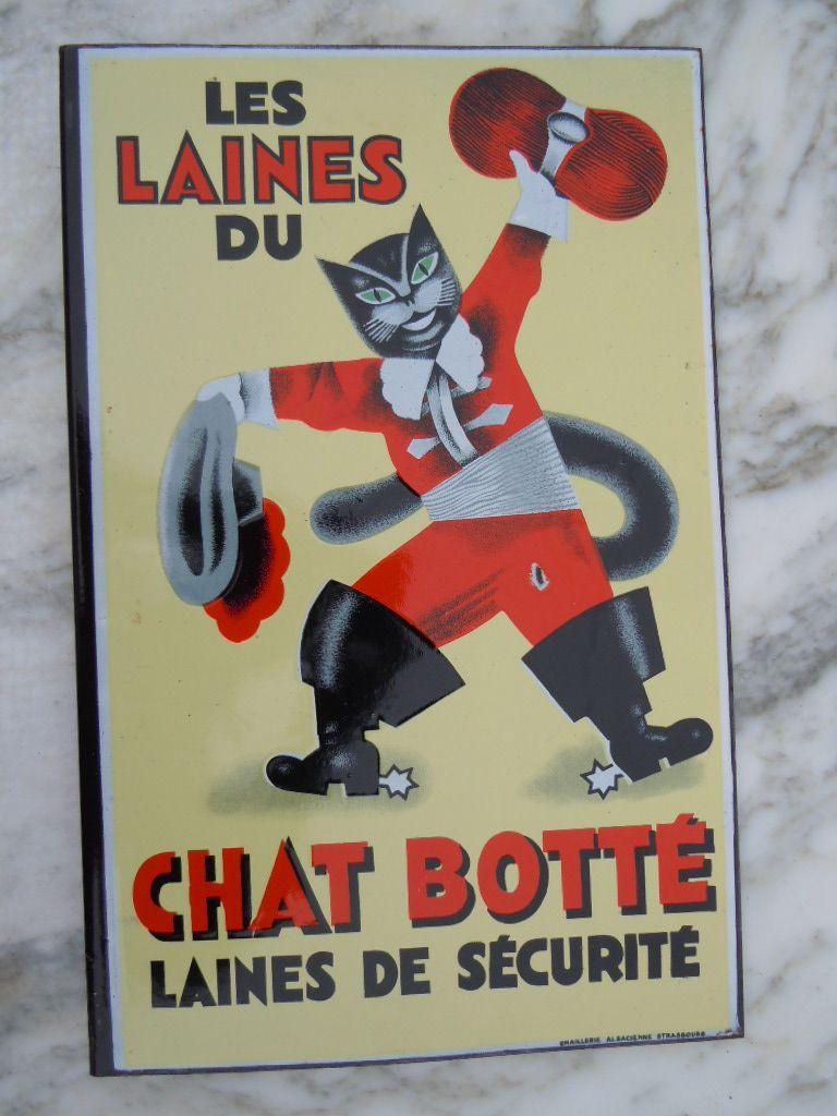 Ancienne plaque maill e pub les laines du chat bott for Plaque emaillee ancienne cuisine