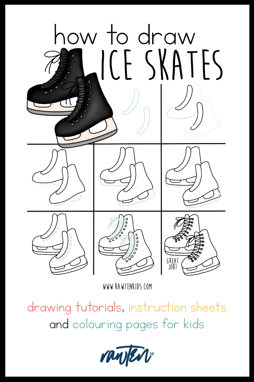 How To Draw Ice Skates : skates, Skates, Rawten, Skate, Drawing,, Skating,, Drawing