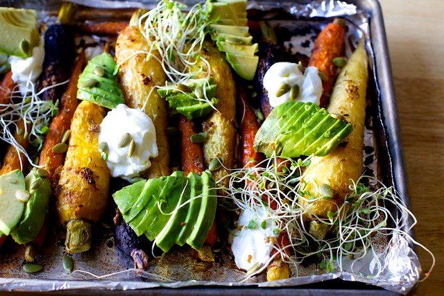 Spiced Roasted Carrots With Avocado And Yogurt Recipe Roasted
