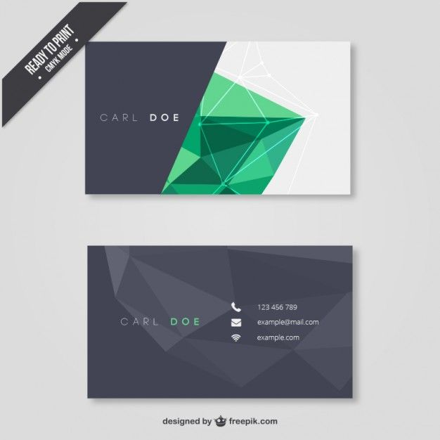 Business Card With Blue Triangles Cartes De Visite Modernes
