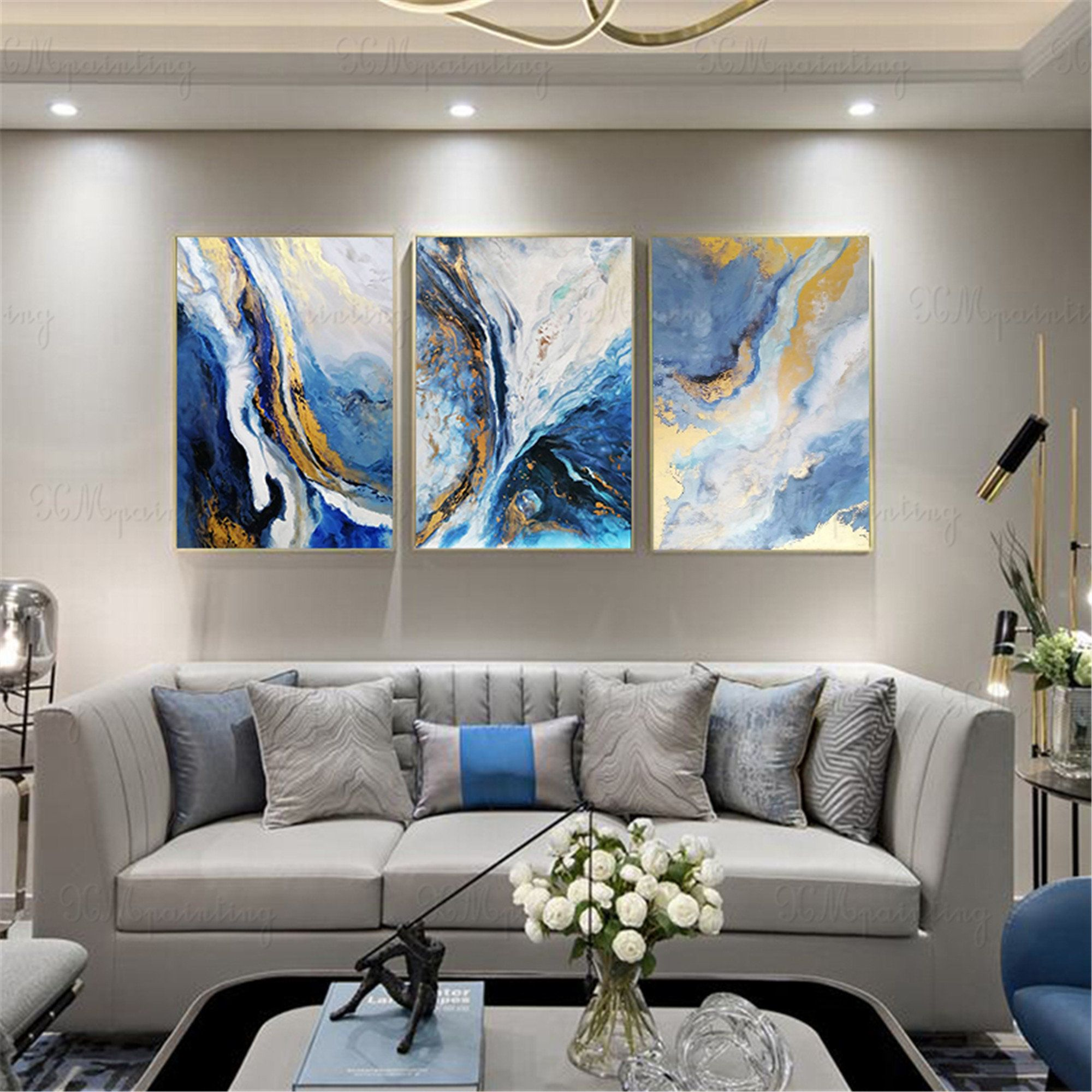 3 Pieces Gold Art Abstract Painting Canvas Wall Art Pictures For Living Room Wall Decor Bedroom Home Decor Original Acrylic Blue Texture Wall Decor Bedroom Wall Decor Living Room Living Room Pictures