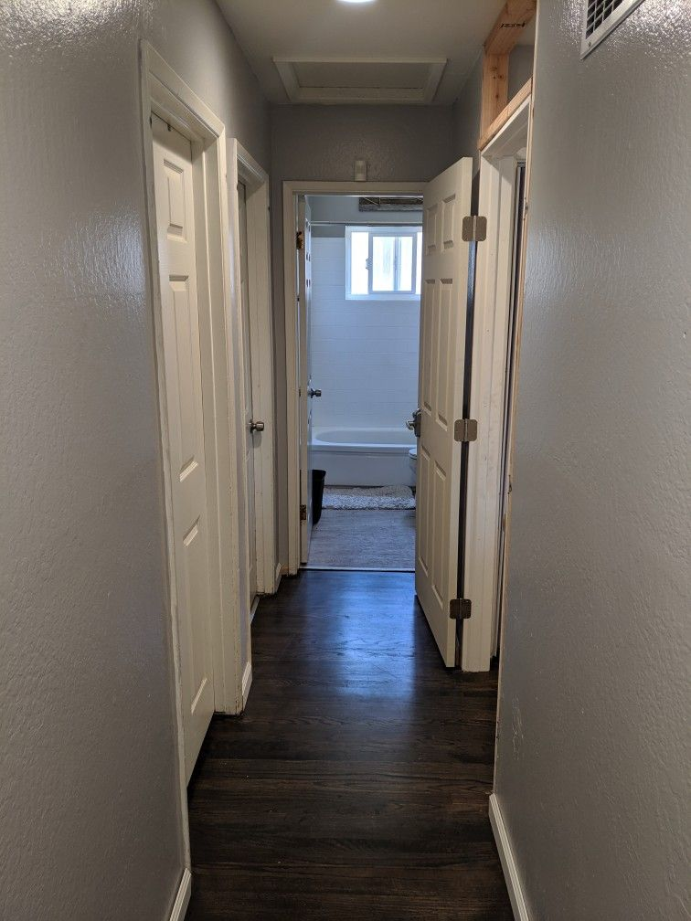 Added A Wall In My Hall Way And Installed Prehung Door Along With