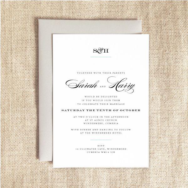 MONOGRAM elegant and classic wedding invitations Tons of formats - invitation formats