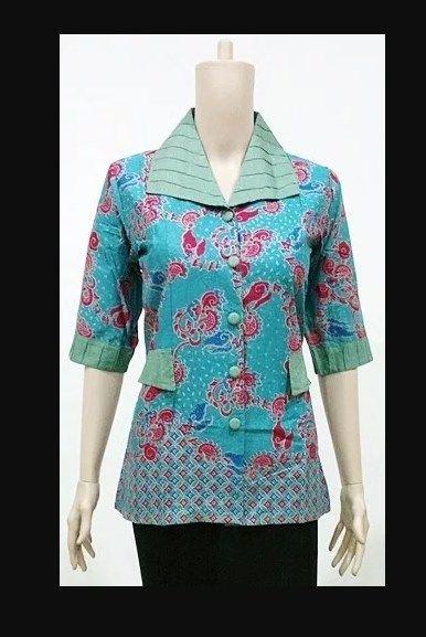 Contoh Model Baju Batik Seragam Guru Wanita Warna Biru Model Batik