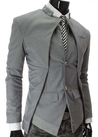 9512e234049c Korean Style Solid Grey Mandarin Collar Splicing Suit | Sharp ...