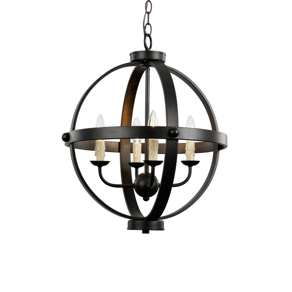 Bel Air Lighting 4-Light Rubbed Oil Bronze Pendant