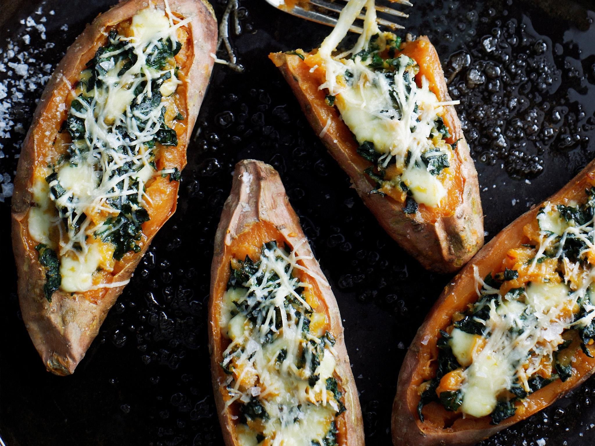 Kumara baked with silverbeet and mozzarella, kumara recipe, brought to you by Everyday Food