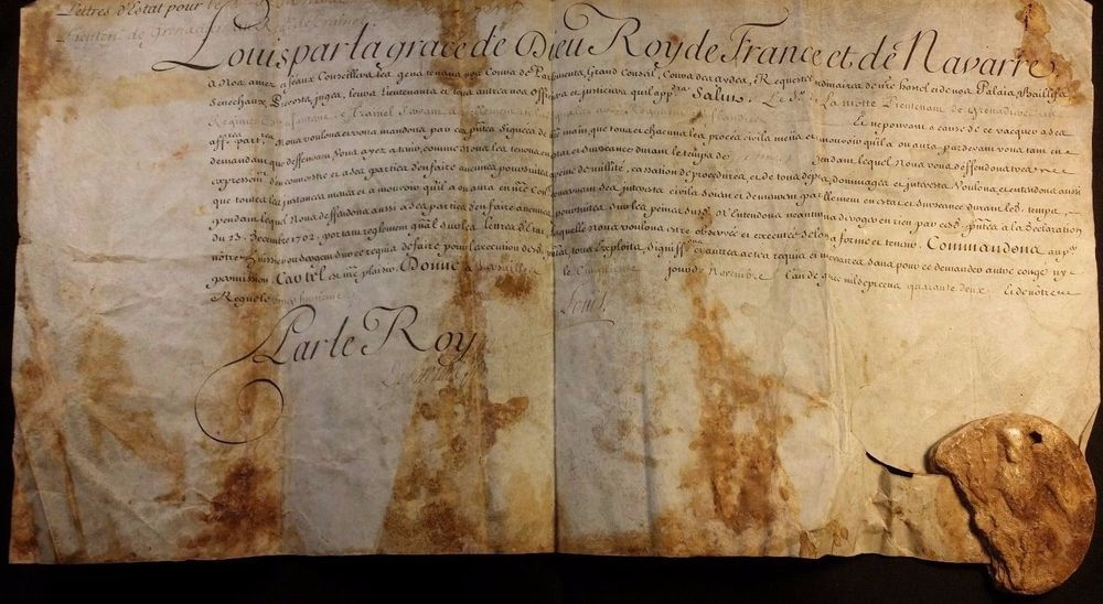 king louis xv autograph on parchment document with wax. Black Bedroom Furniture Sets. Home Design Ideas
