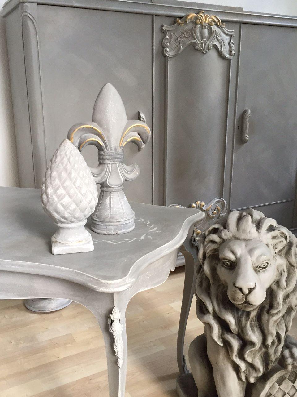 Couchtisch Wohnzimmertisch Shabby Chic Antik Vintage Grau Weiß