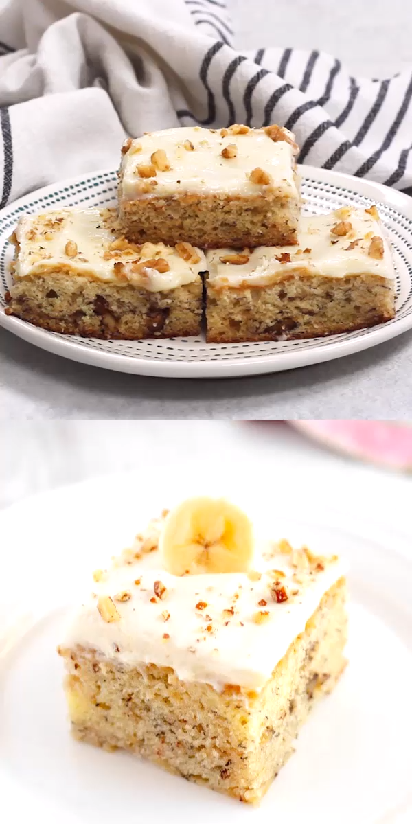 Banana Walnut Bars with Cream Cheese Frosting are moist and tender banana bars t...