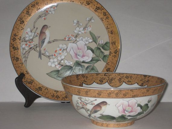 Old Stock Asian Fine Porcelain Bowl & Plate Mid by slockwoo