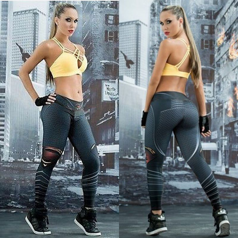 Women Stretch Fitness Yoga Leggings High Waist Pants Running Gym Sports  Trousers 55a8ae42a966