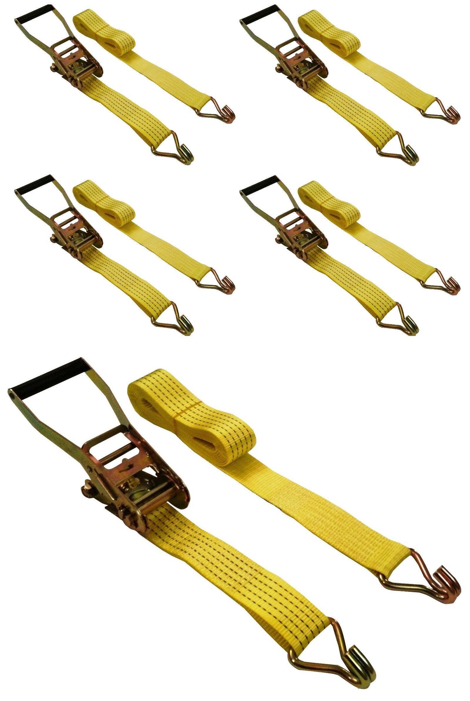 "8 Pack  2/"" x 15/' Ratchet Straps J Hook 5000 Lb Heavy Duty Tie Downs"