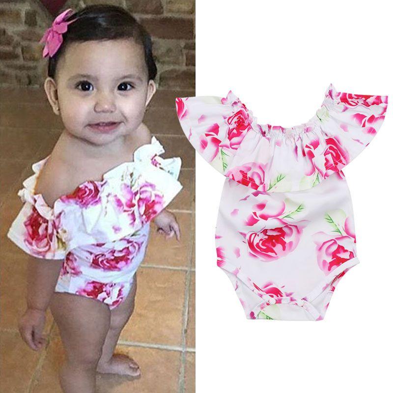 ef787b580 Top Baby Girls Infant Off Shoulder Romper Jumpsuit Bodysuit Clothes Outfits  Set