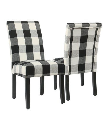 Kinfine Black Plaid Side Chair   Set Of Two | Zulily