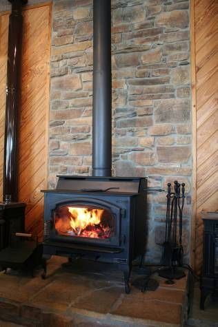 wood stove fireplace - could we get a similar look with a set back ...