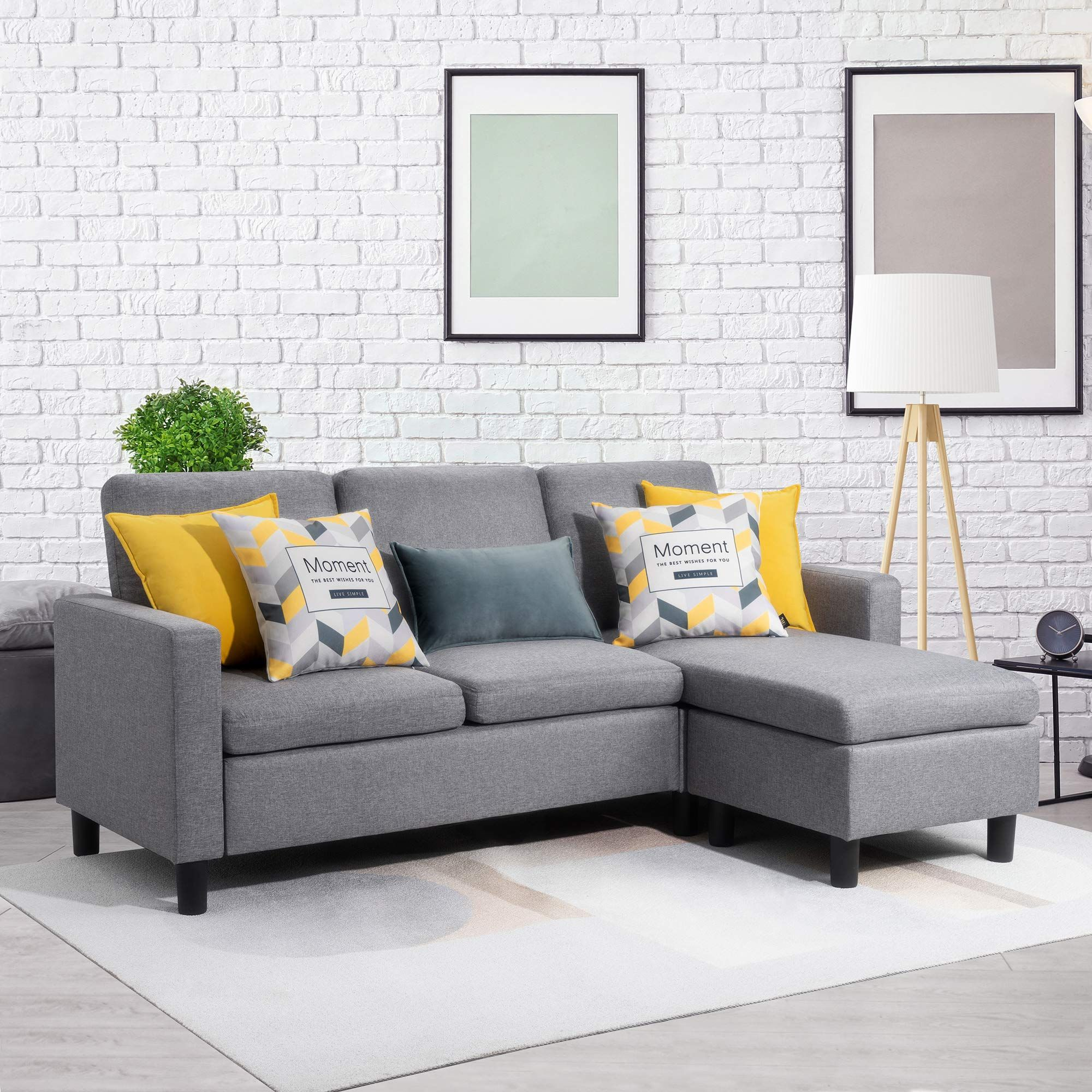 Walsunny Convertible Sectional Sofa Couch With Reversible Chaise L Shaped Couch With Modern Linen Fabric F In 2020 Modern Sofa Sectional L Shaped Couch Sectional Sofa
