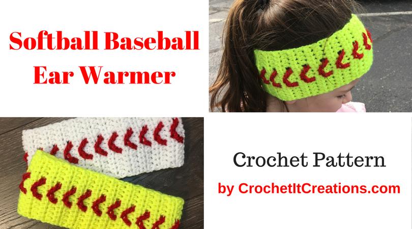 Baseball Softball Ear Warmer Crochet Pattern   Crochet Hats by Susan ...