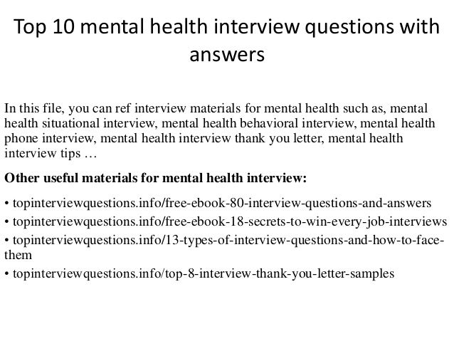 Top 10 mental health interview questions with answers Making - interview questions and answers