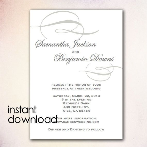 DIY Wedding Invitation Template - Instant Download Microsoft Word - microsoft word templates invitations