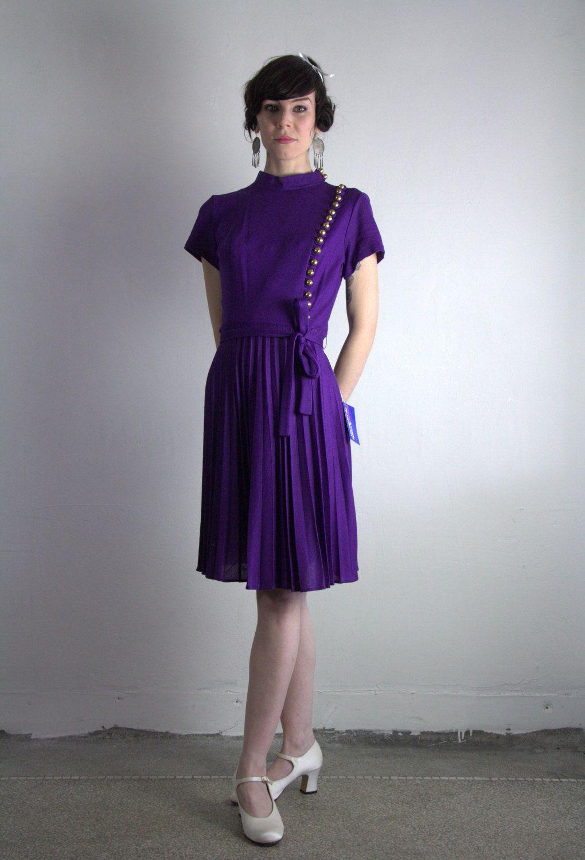 Vintage 60s Dress Gold Buttons Deep Purple Nos Belt Etsy Vintage Dress 60s Dresses Vintage Outfits [ 1500 x 1020 Pixel ]