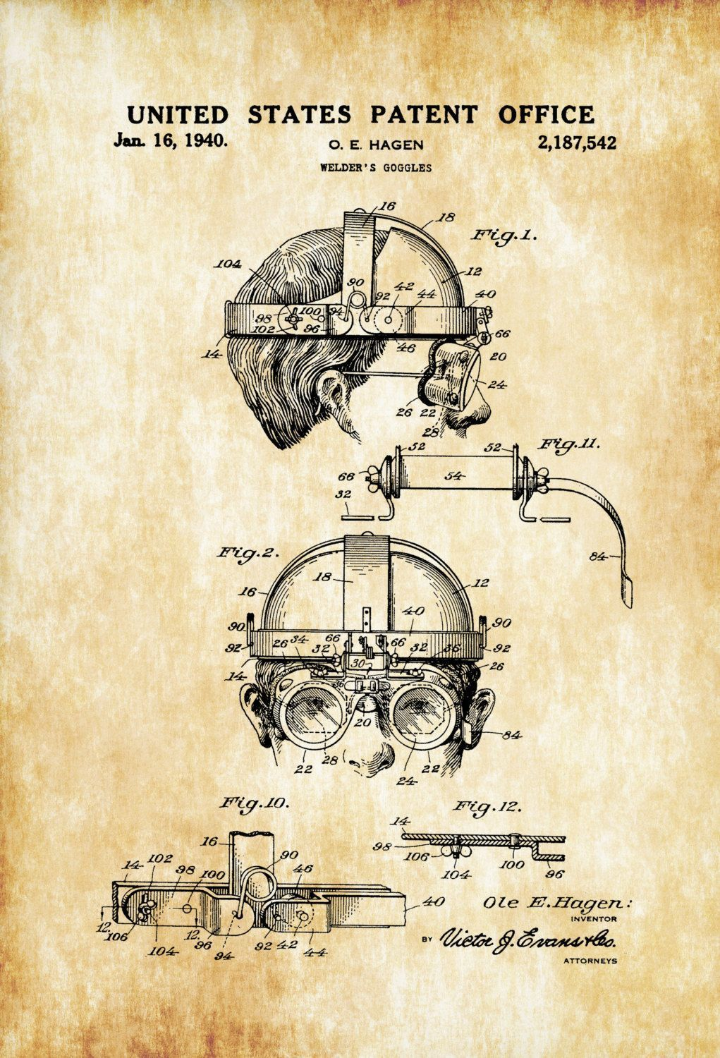 A patent print poster of a Welder's Goggles invented by O