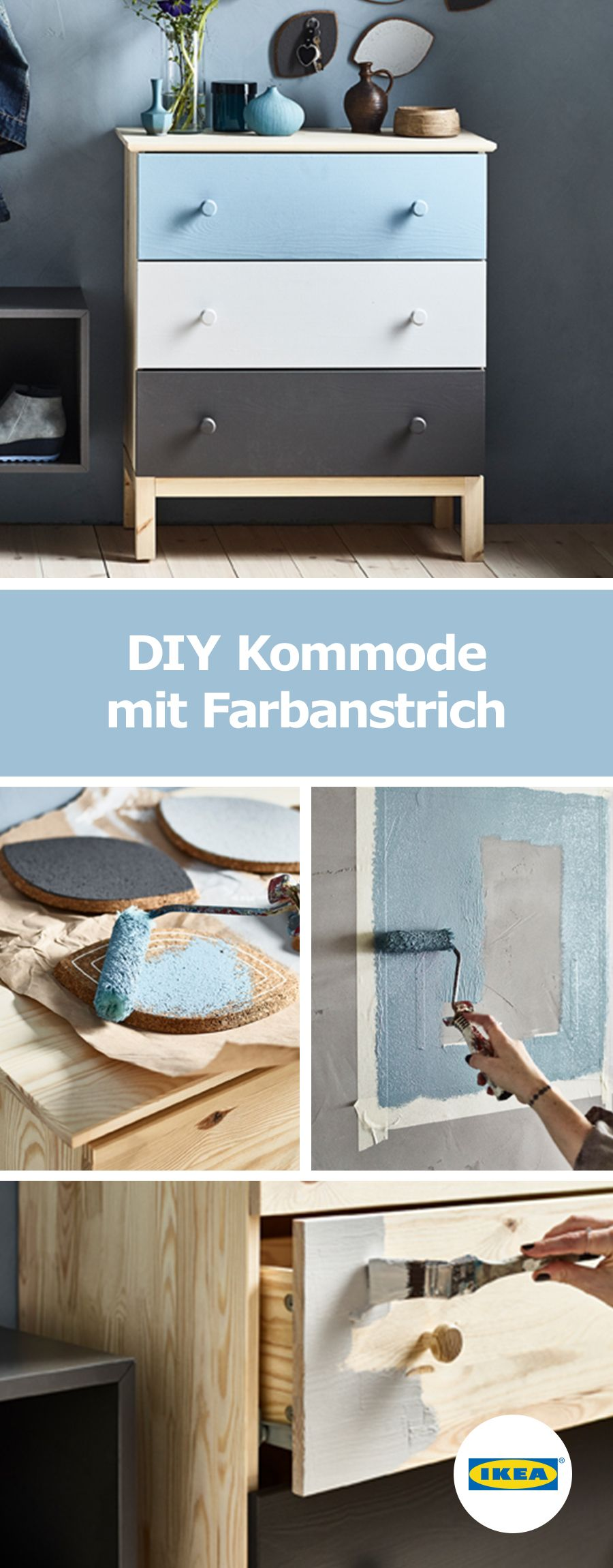 ikea deutschland diy kommode mit farbanstrich pinterest. Black Bedroom Furniture Sets. Home Design Ideas