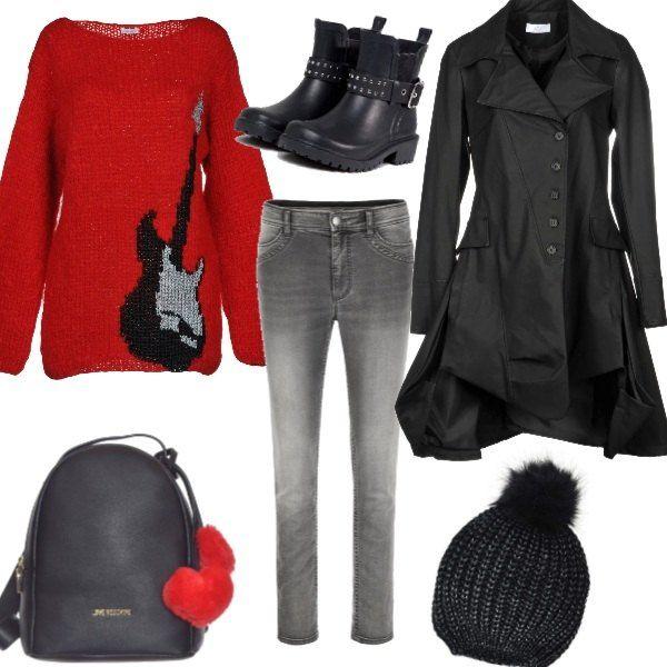 Jeans nero con maglione rosso lungo
