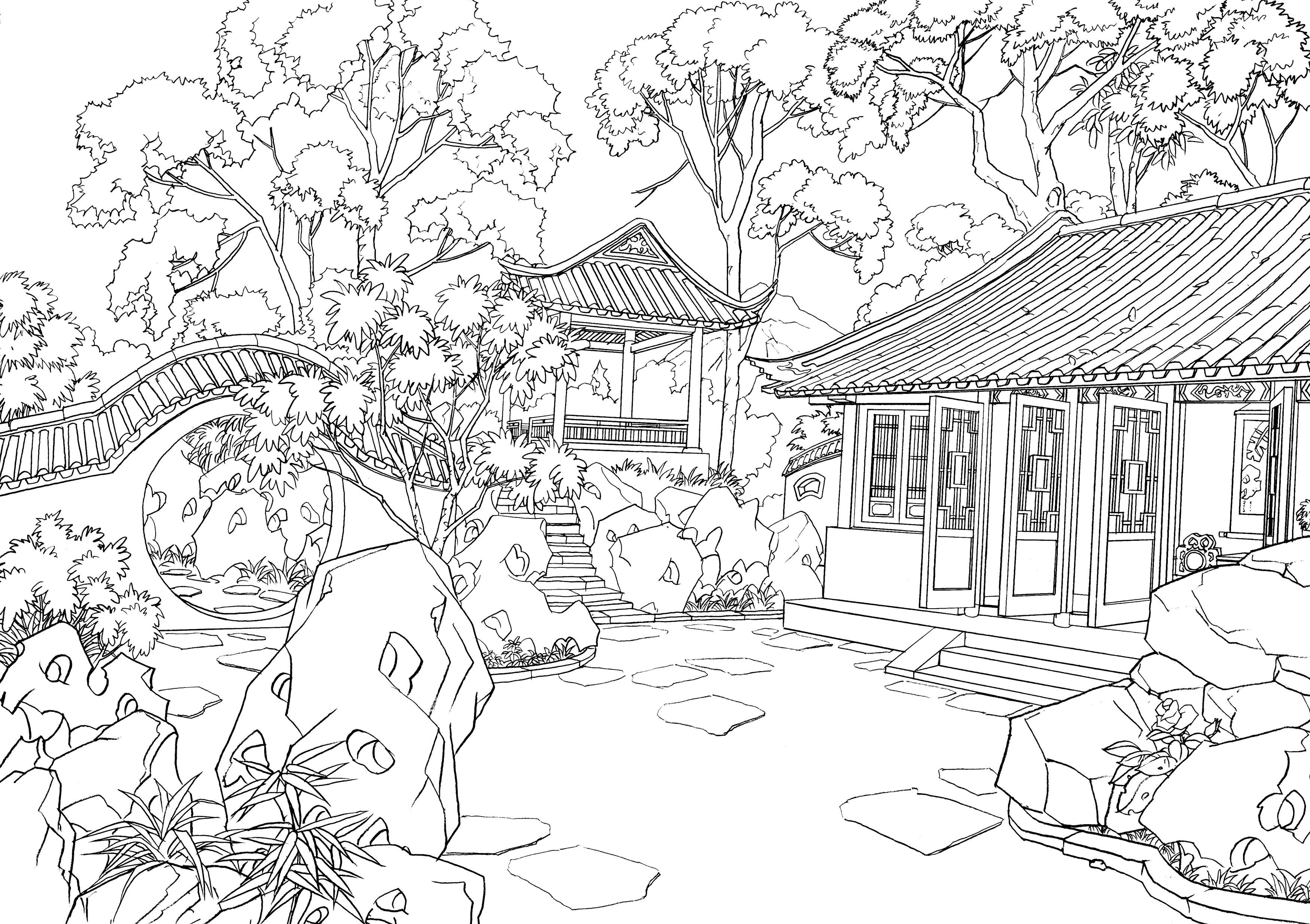 Pin By Hannecart Mel On Colouring Buildings Houses Garden Coloring Pages Coloring Pages Coloring Pictures