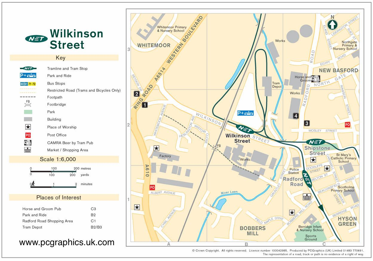 Map of Wilkinson Street tram stop and surrounding area produced by