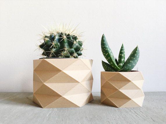 Cache Pot Design Geometrique Low Poly Imprime En Bois Pattern