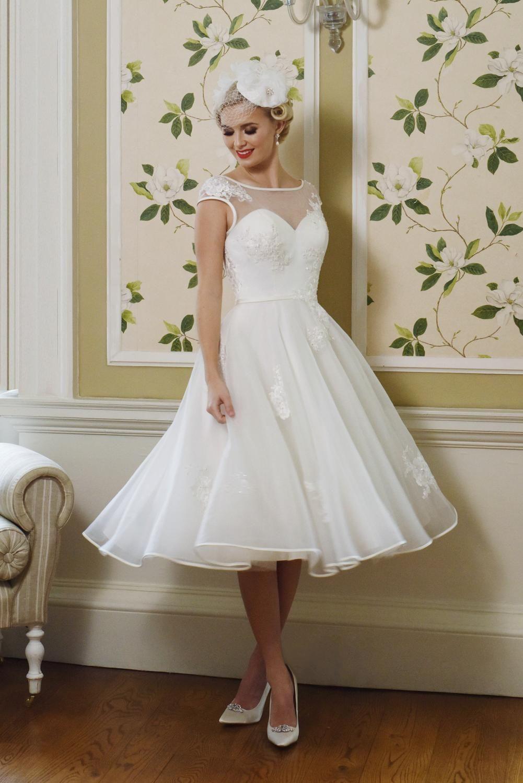 Luella Modern 1950s Style Tea Length Wedding Dress Brighton Belle Tea Length Wedding Dress Short Wedding Dress Short Bridal Gown [ 1500 x 1001 Pixel ]