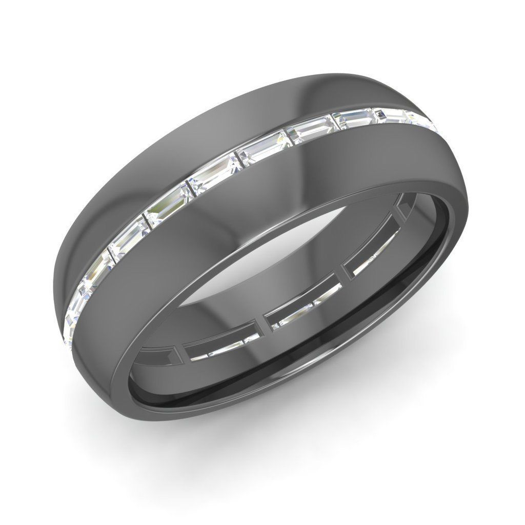 Mens Wedding Ring With Certified VS Diamond In Solid 14k Black Gold