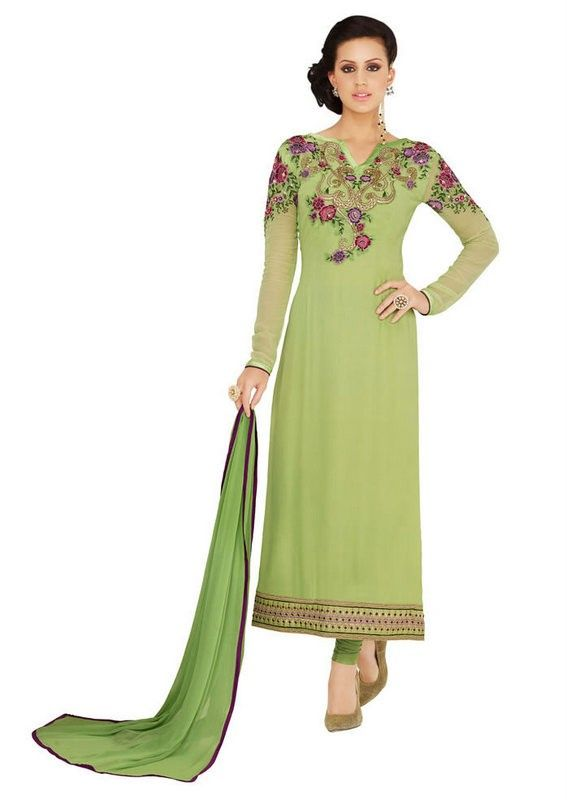 408abadd5c Pista Green Colour Georgette Embroidered Work Salwar Suit | Party ...