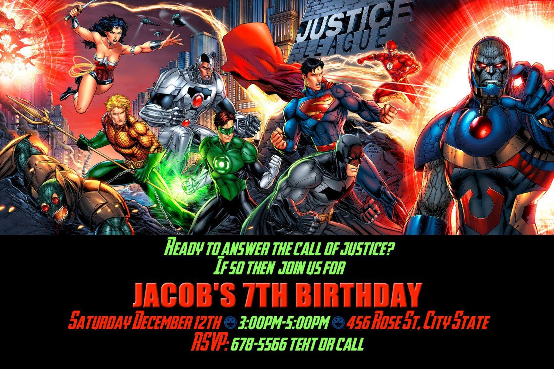 Justice League Birthday Invitation Printable Or Print Option Superhero Party Invite