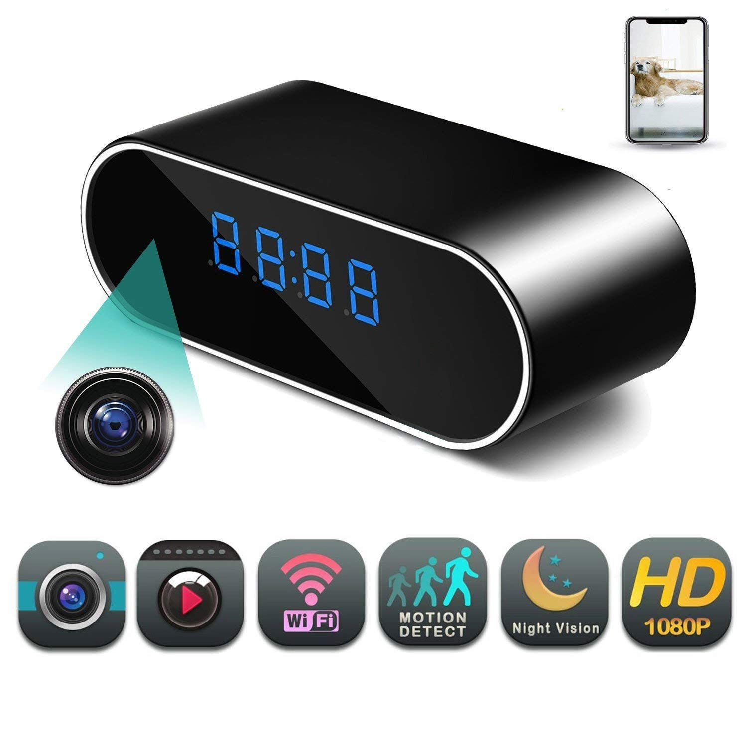 Real-time Camera WiFi Hidden Wireless Night Vision Security Nanny Cam HD 1080P