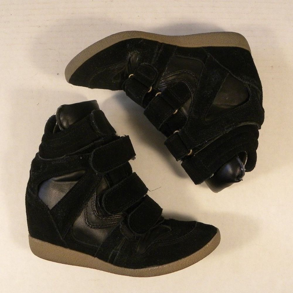 263cba5a6c9f Steve Madden Size 5 M Black Suede High Top Ankle Boot Wedges Heels Hilight