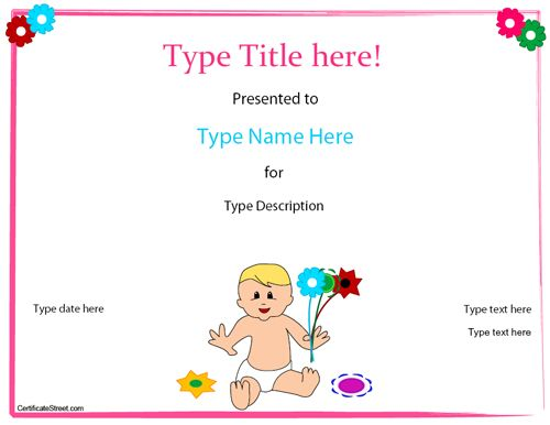 Special Certificate  Baby Birth Certificate Template