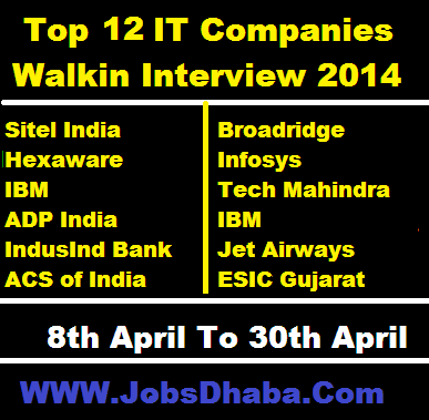 Top 12 IT MNC Walkin Interview  7th April To 30th April 2014  Qualification - 12th, BE, B.Tech, ME, M.Tech, MCA, Any Graduates, B.Com, MBA, BBA, BA, BSc  More Details => http://www.jobsdhaba.com/search?q=Latest+IT+MNC+Walkin%27s+List&max-results=01&by-date=true