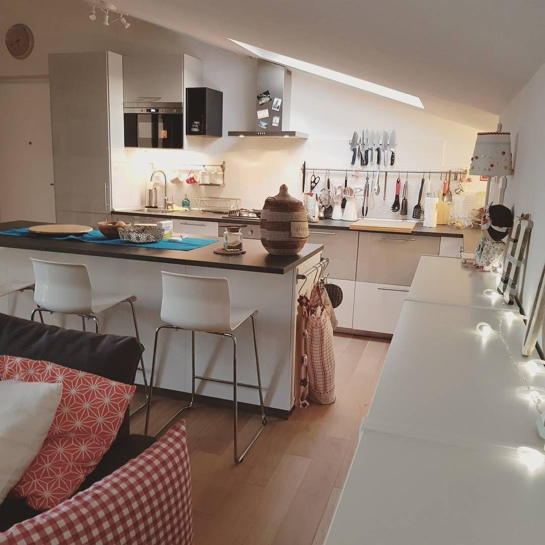 Attic Small Attic Mansarda Mansarda Bassa Open Space Cucina Con L Isola Ikea Ikea Kitchen Living Space Kitchen White Kitc Arredamento Mansarda Cucine