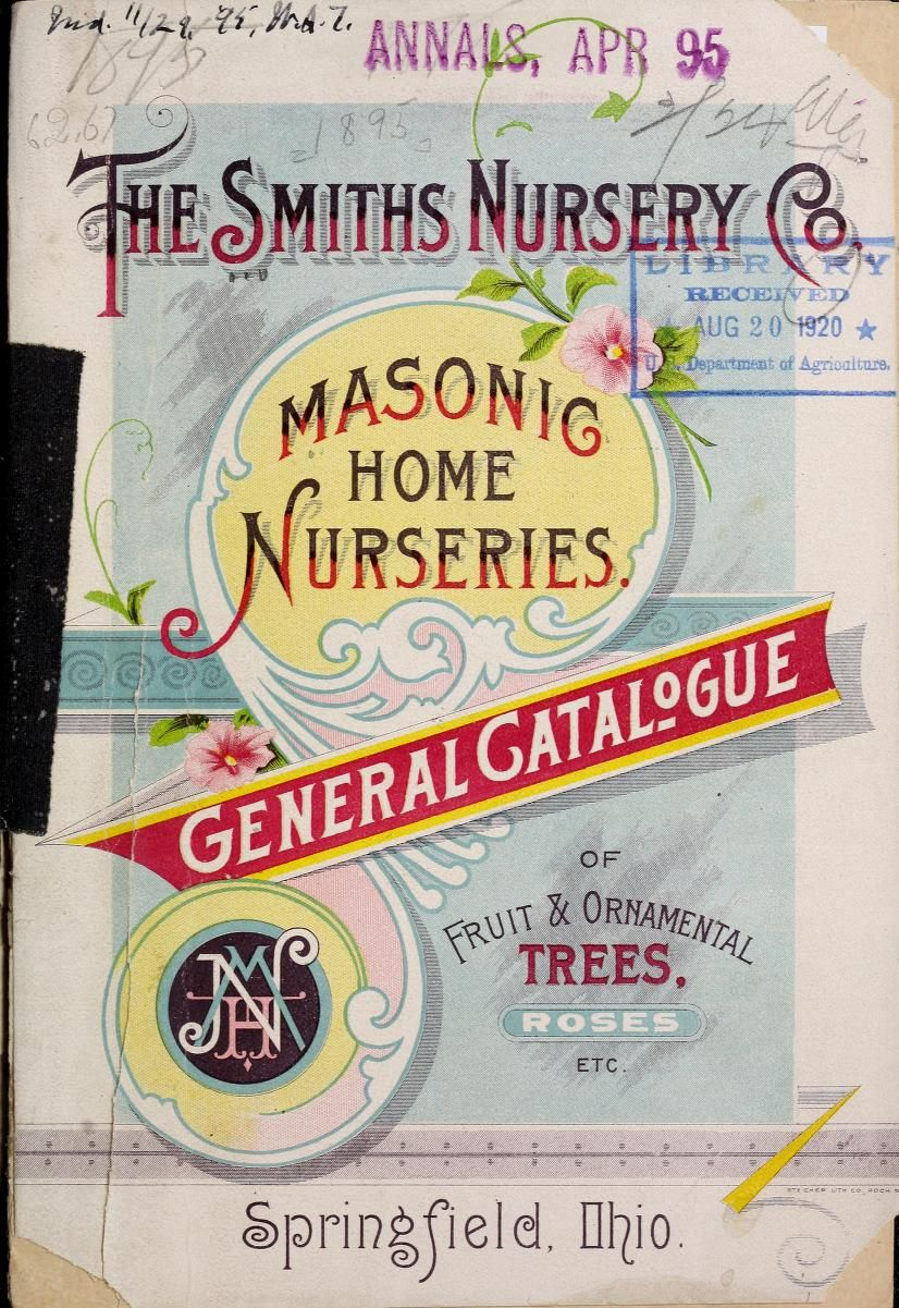 The Smith S Nursery Catalogue General Of Fruit And Ornamental Trees Shrubs Roses Peonies Hardy Border Plants 1895