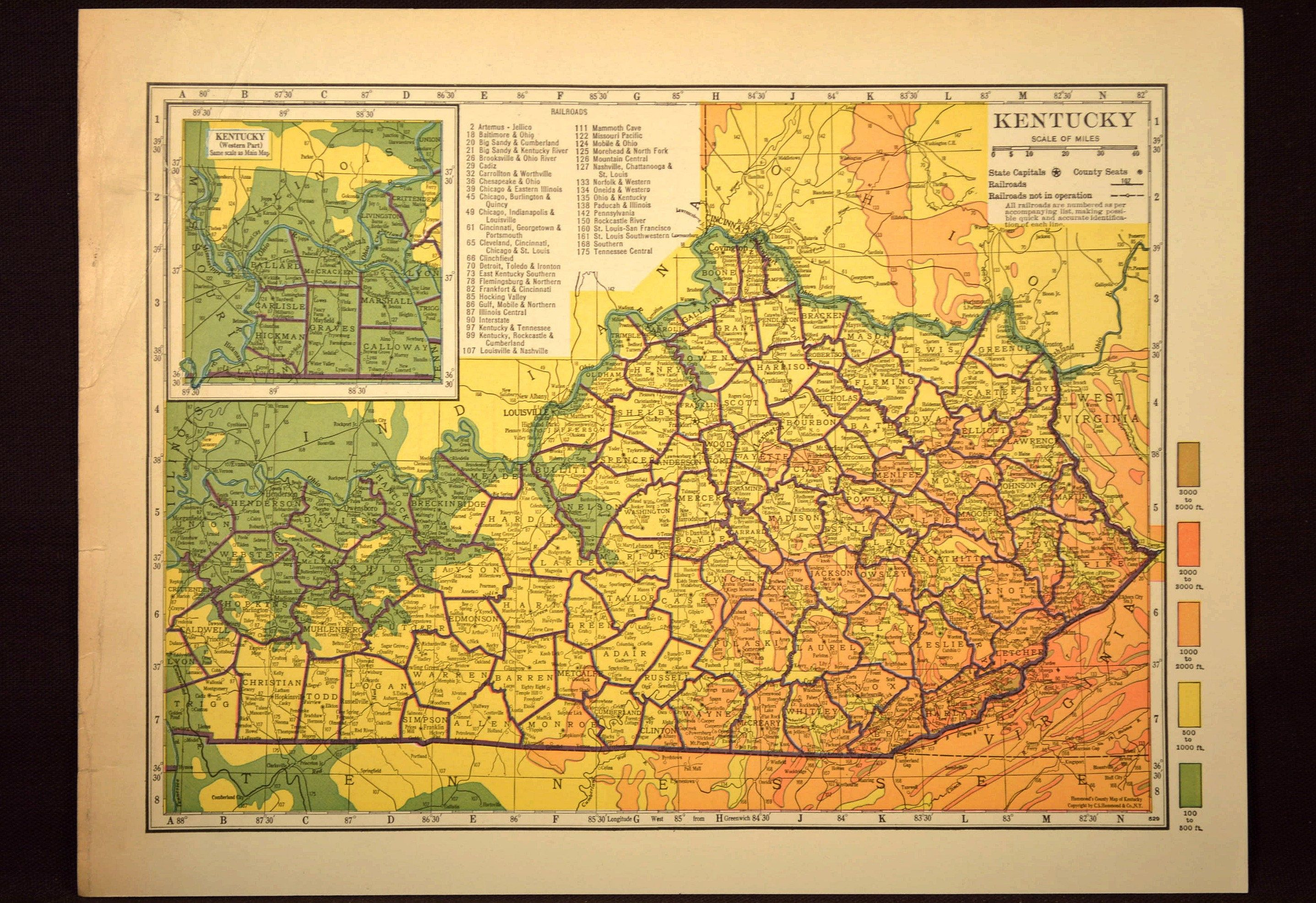 Kentucky Map Kentucky Topographic Map Colorful Colored Topo | Map ...